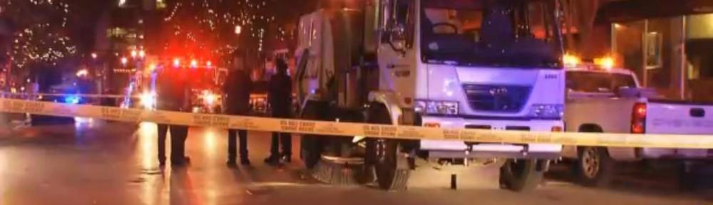 Road Sweeper runs over drunken pedestrian